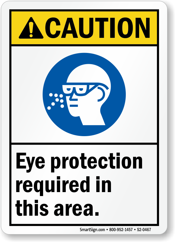 Eye Protection Required In Area ANSI Caution Sign