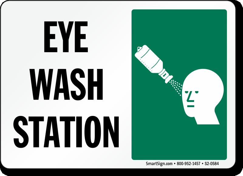 Eye Wash Station Sign with Eyewash Bottle Symbol