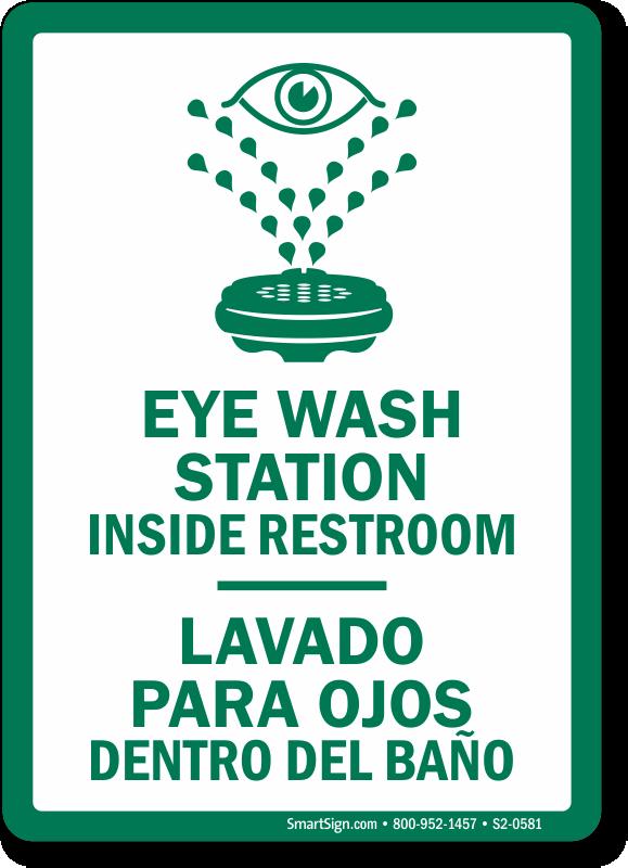 Eye Wash Station Inside Restroom Bilingual Sign