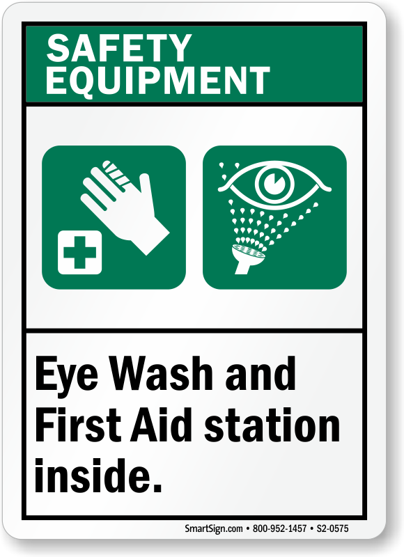 Eye Wash First Aid Station Inside Sign