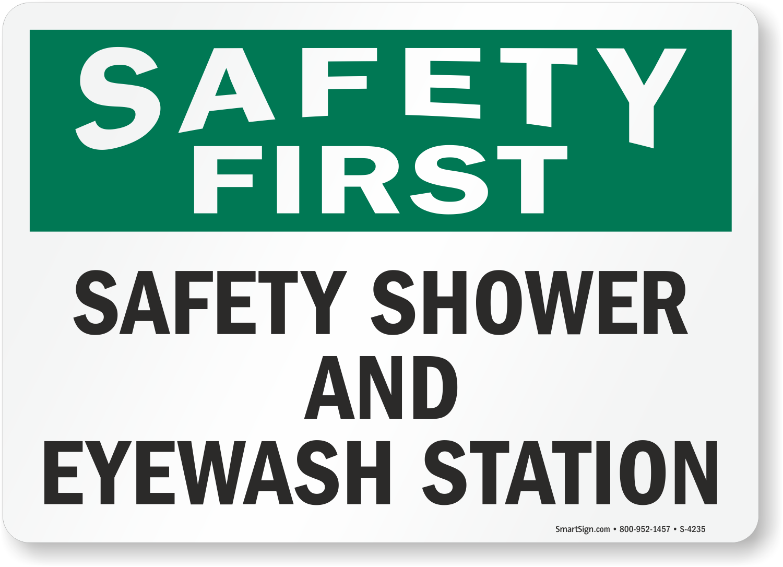 Safety First Safety Shower and Eyewash Station Sign, SKU ...