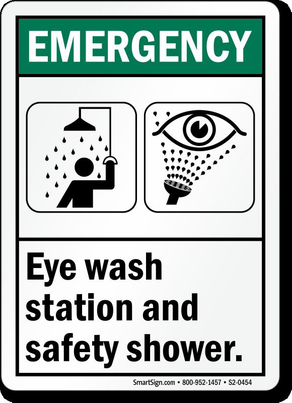 Eye Wash Station Safety Shower ANSI Emergency Sign