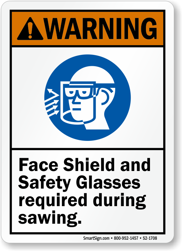 Face Shield And Glasses Required Warning Sign