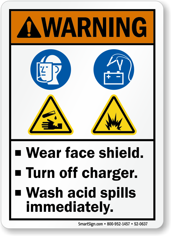 Wear Face Shield Turn Off Charger Sign