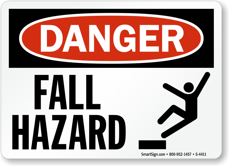 Fall Hazard Trip Fall Danger Sign Ships Fast Amp Free Sku