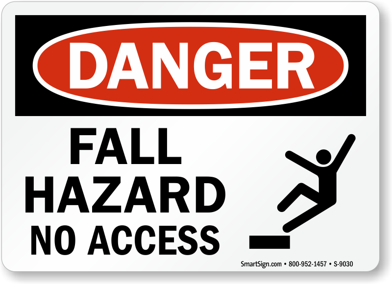 Fall Hazard Signs Free Shipping Orders Over