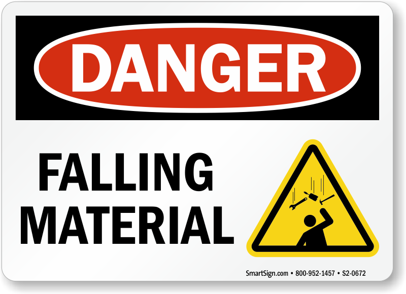 Falling Material OSHA Danger Sign