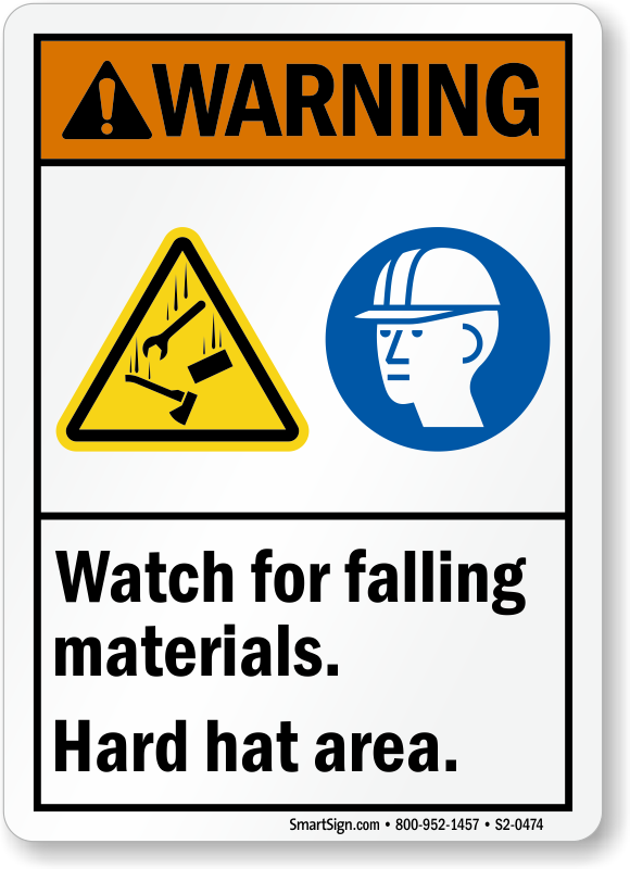 Watch For Falling Materials Hard Hat Area Sign
