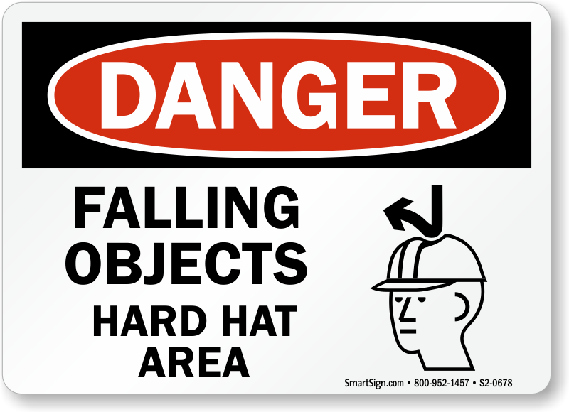 Falling Objects Hard Hat Area Sign