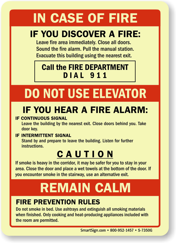 In Case Of Fire Call Fire Department Do Not Use Elevator