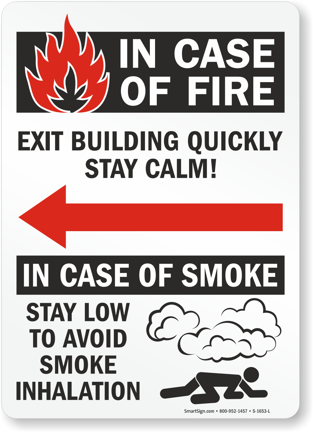 In Case Fire Exit Building Quickly Sign