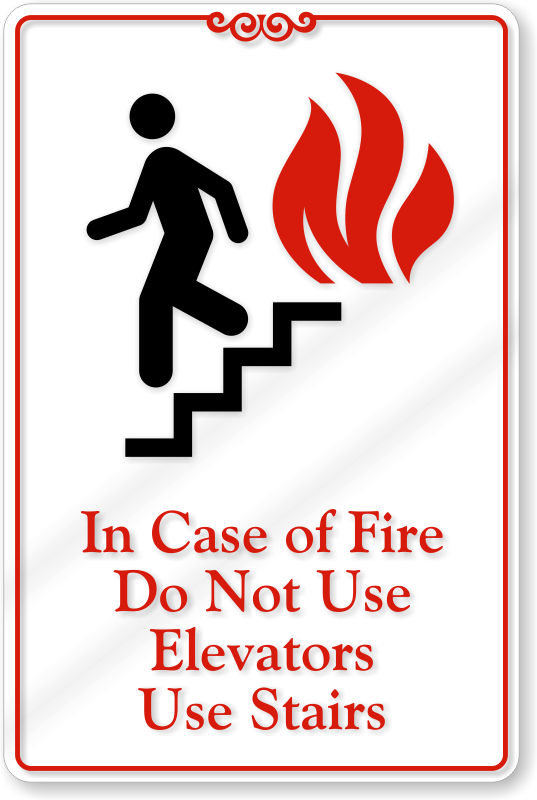 In Case Of Fire Do Not Use Elevators Wall Sign Sku Se 1727