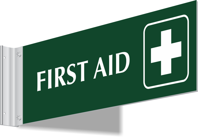First Aid with Cross Symbol 2-Sided Spot-a-Signs