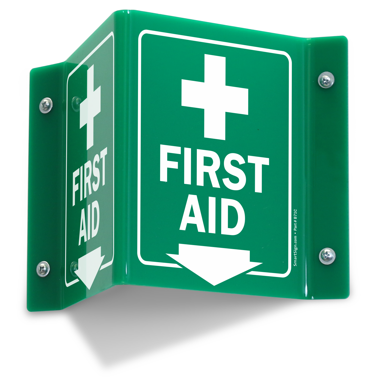 Projecting First Aid Green Sign With Down Arrow