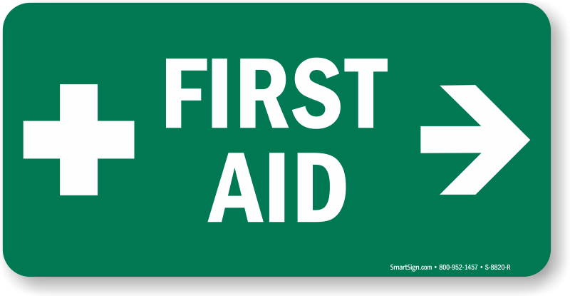 Green First Aid Sign With Right Arrow And Symbol Sku S 8820 R