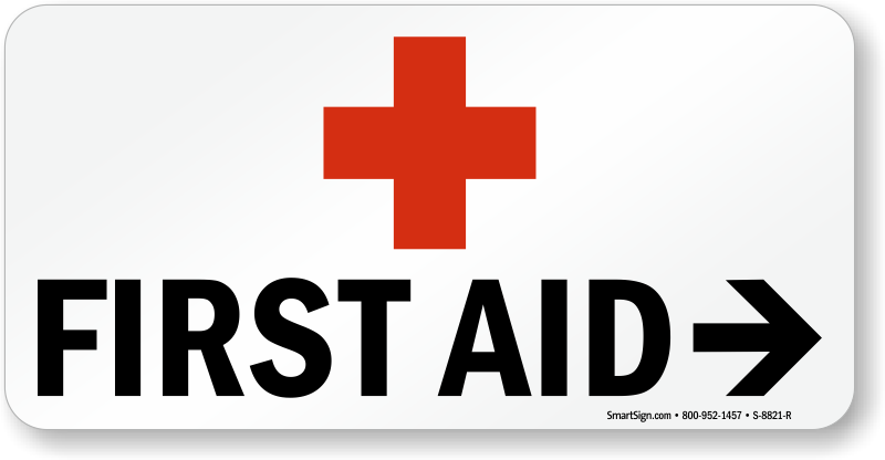 First Aid Sign With Right Arrow And Red Cross Symbol Sku S 8821 R