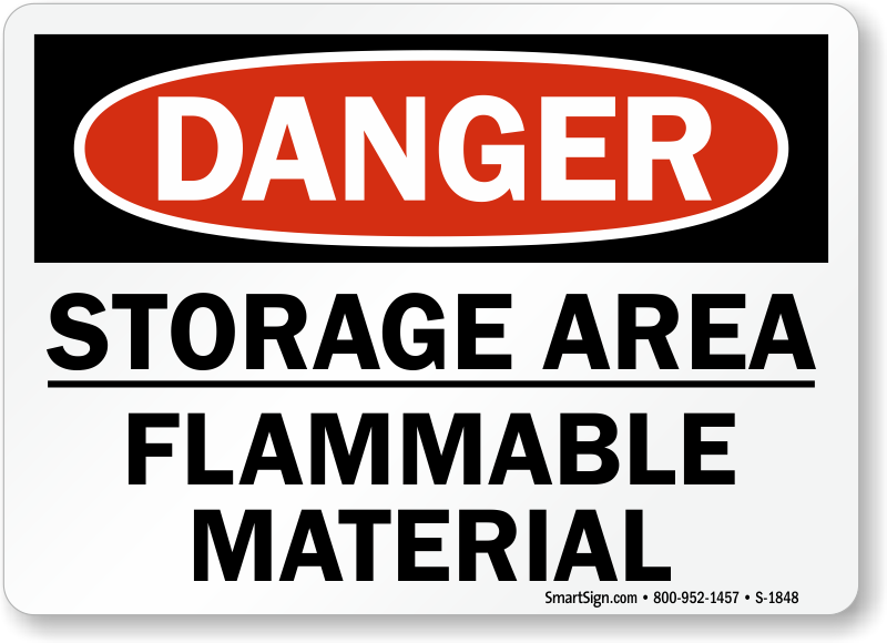 Storage Area Flammable Material Sign Sku S 1848