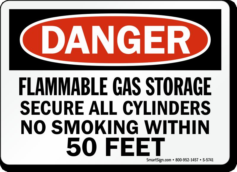 Flammable Gas Storage No Smoking Danger Sign