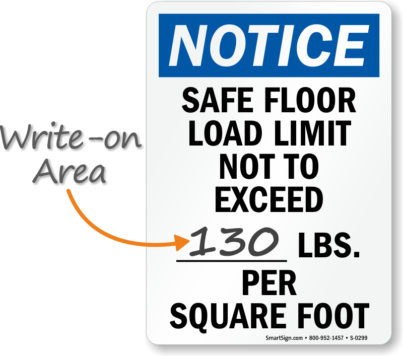 Notice Safe Floor Load Limit Sign
