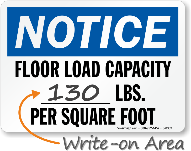 Notice Floor Load Capacity Sign