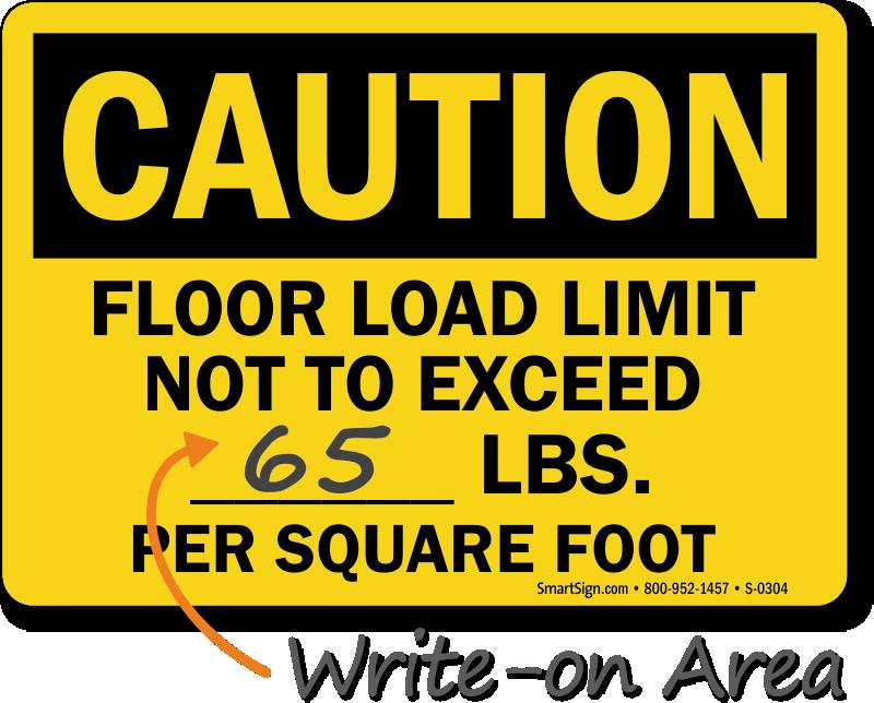 Caution Floor Load Limit Sign