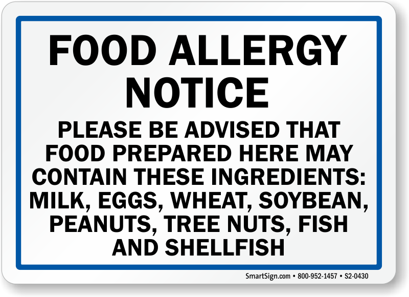 May Contain Milk, Egg, Wheat, Peanuts, Fish Sign
