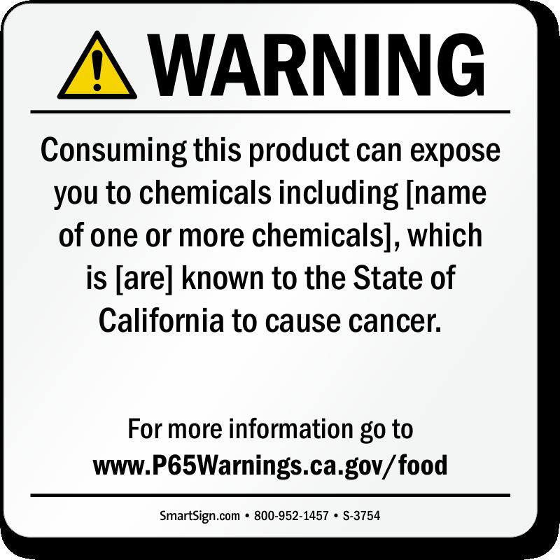Food Exposure Prop 65 Sign