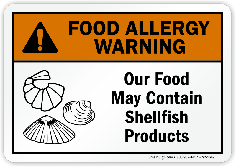 Food May Contain Shellfish Allergy Warning Sign