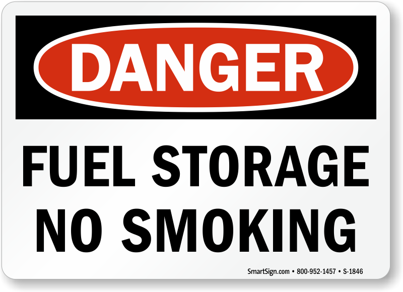 Danger Fuel Storage No Smoking Sign Sku S 1846