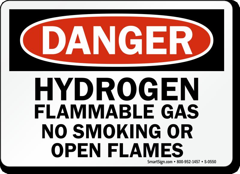 Danger Hydrogen Flammable Smoking Flames Sign