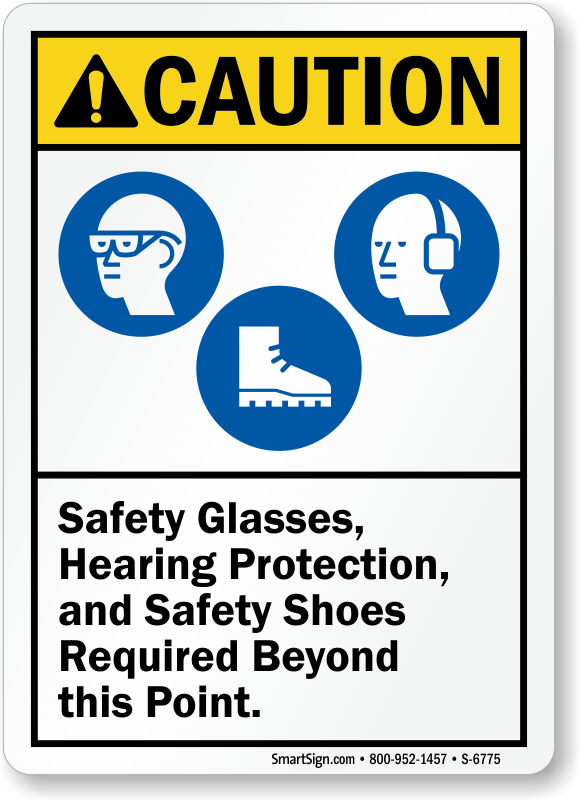 Safety Glasses, Hearing Protection, Shoes Required Caution Sign