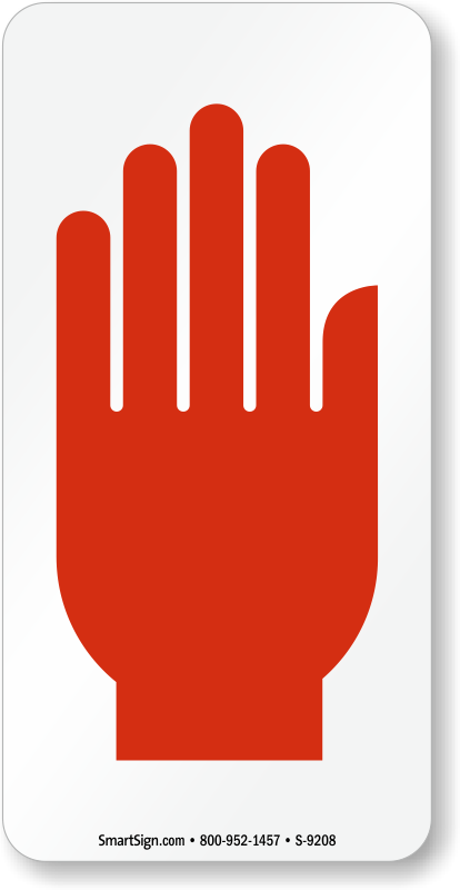 Hand Symbol In Red Stop Hand Sign Sku S 9208