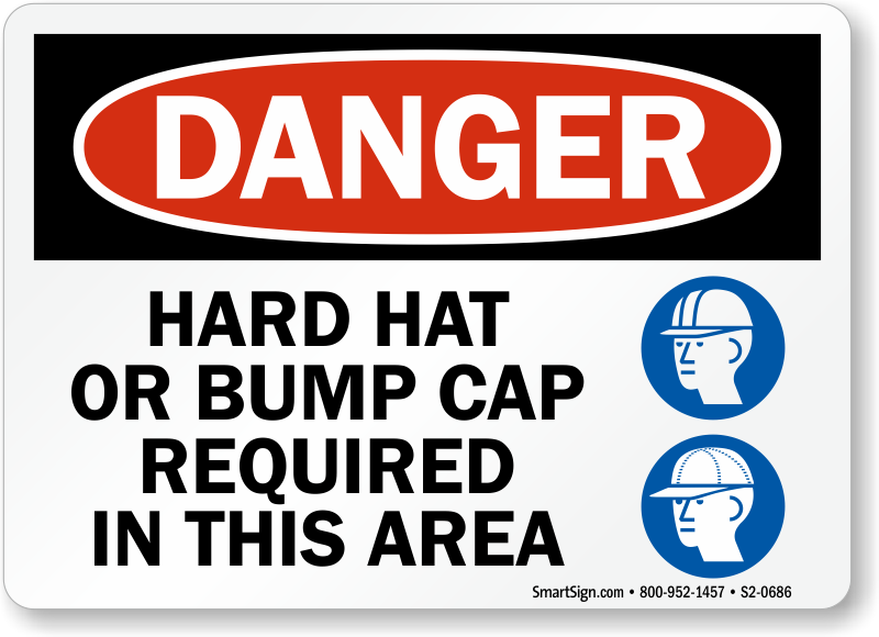 Hard Hat Bump Cap Required In Area Sign