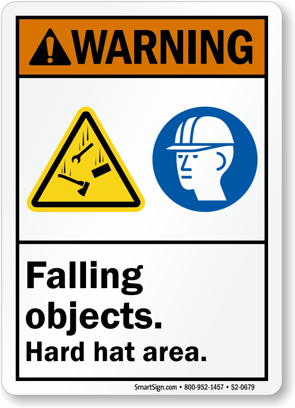 Falling Objects Hard Hat Area Warning Sign