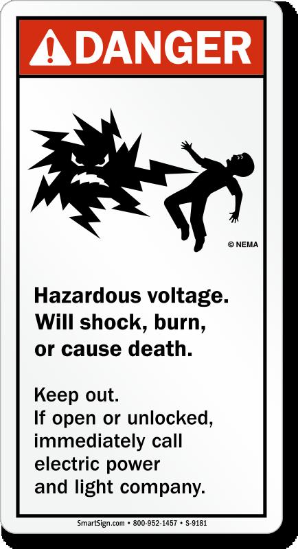 Hazardous Voltage Can Shock Burn Or Cause Death Sign