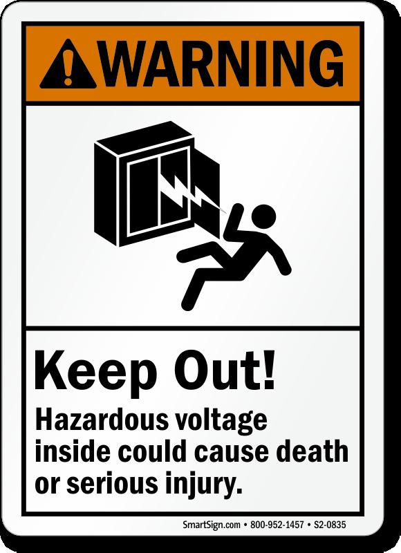 Keep Out Hazardous Voltage Inside, Cause Death Sign