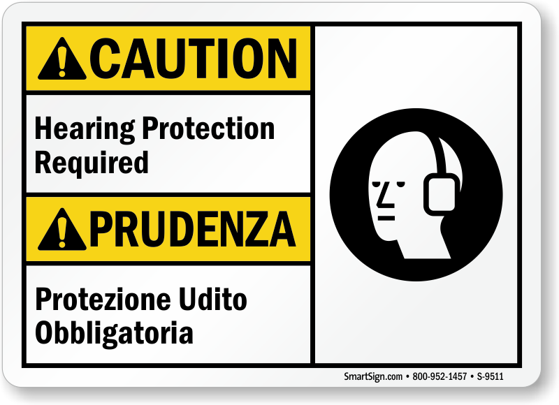 Hearing Protection Required Bilingual Sign