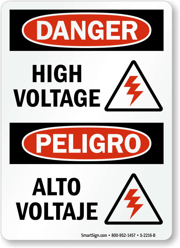 Danger High Voltage / Alto Voltaje Bilingual Sign