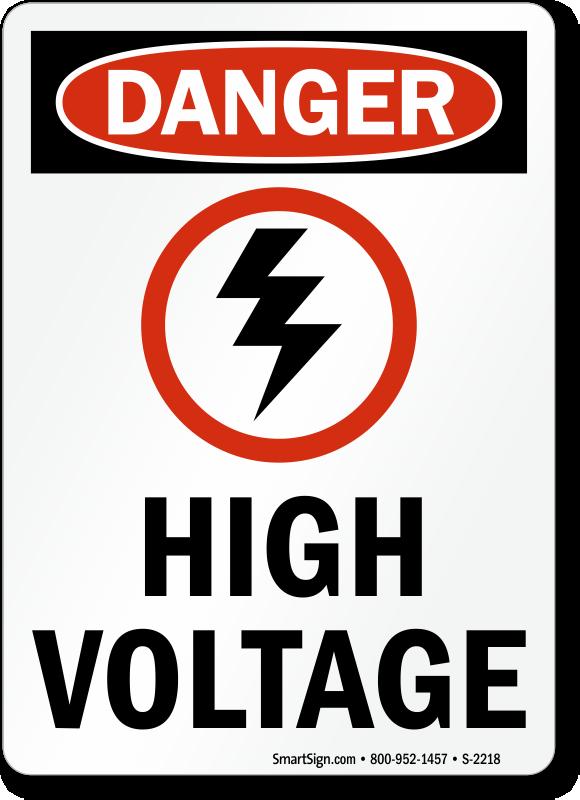 OSHA Danger - High Voltage Sign with Lightning Bolt Symbol, SKU: S ...