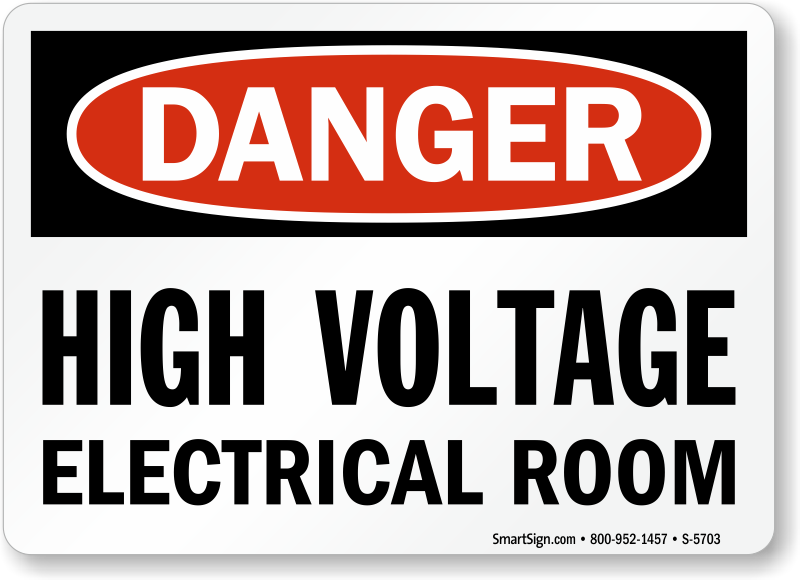 High Voltage Electrical Room Sign  Osha Danger, Sku S
