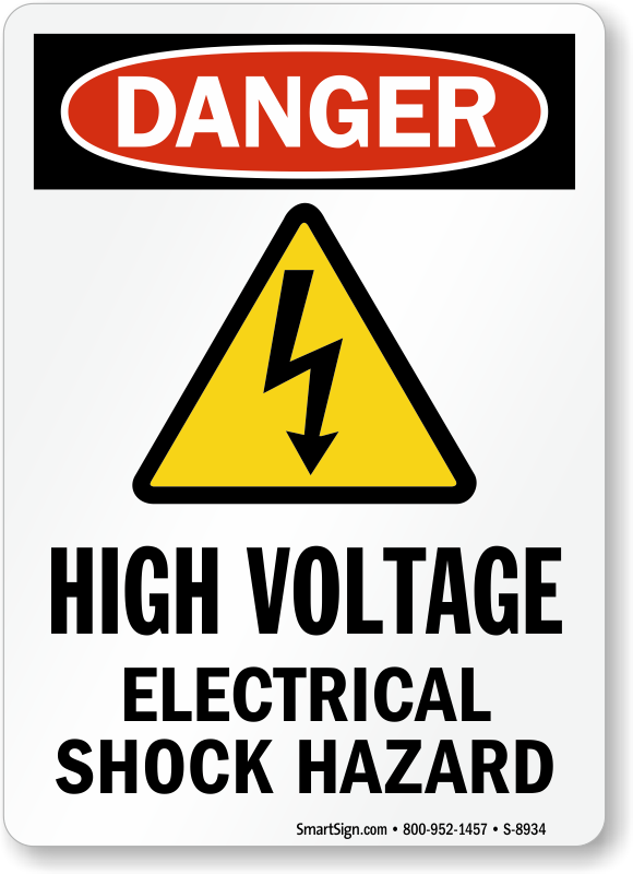 High Voltage Electrical Shock Hazard With Symbol Sign Sku S 8934