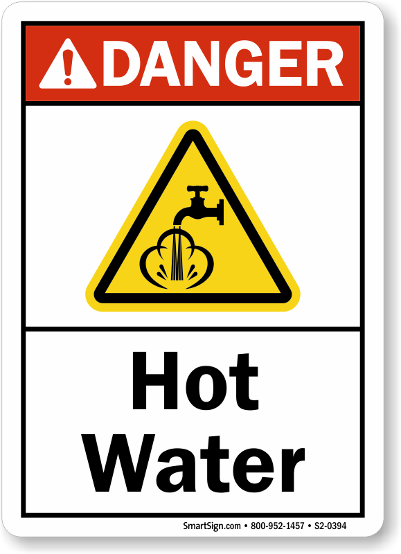 Hot Water ANSI Danger Sign With Graphic