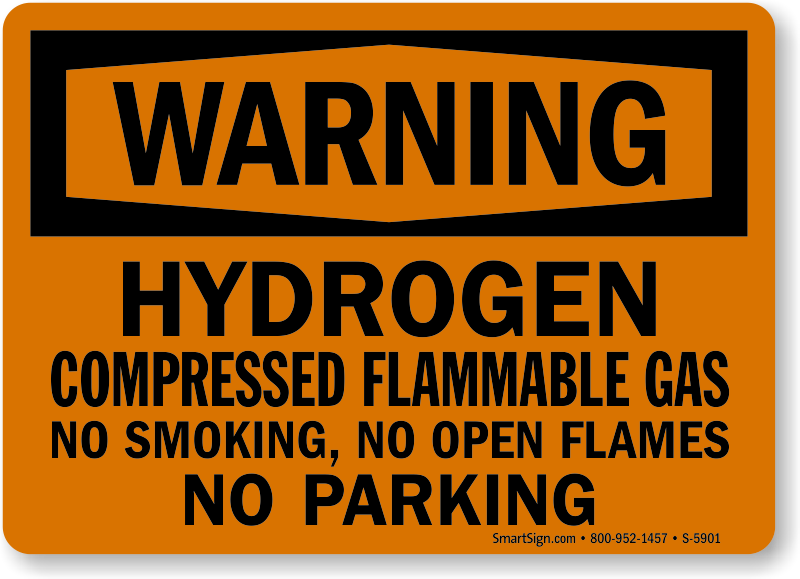Hydrogen Compressed Flammable Gas Warning Sign