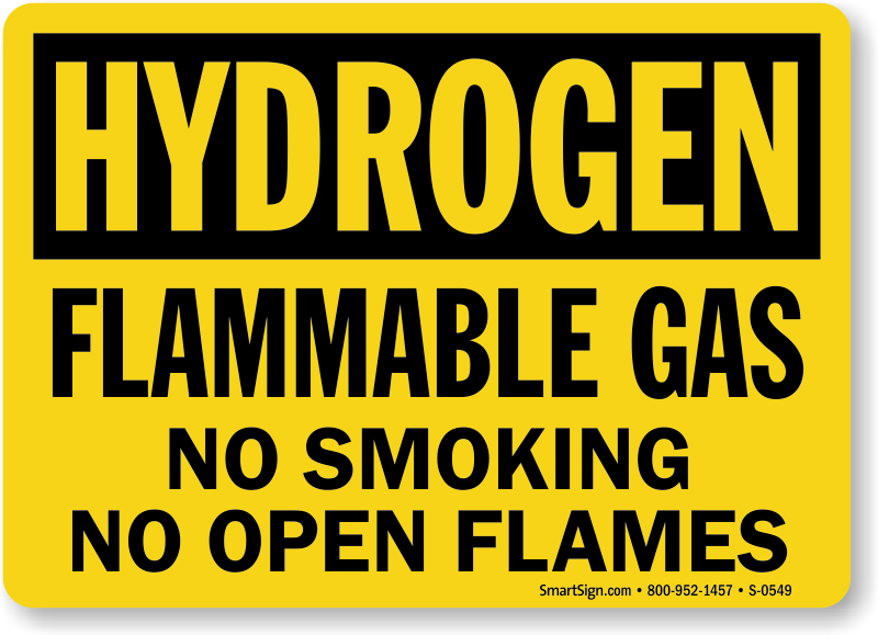 Hydrogen Signs Hydrogen Warning Signs