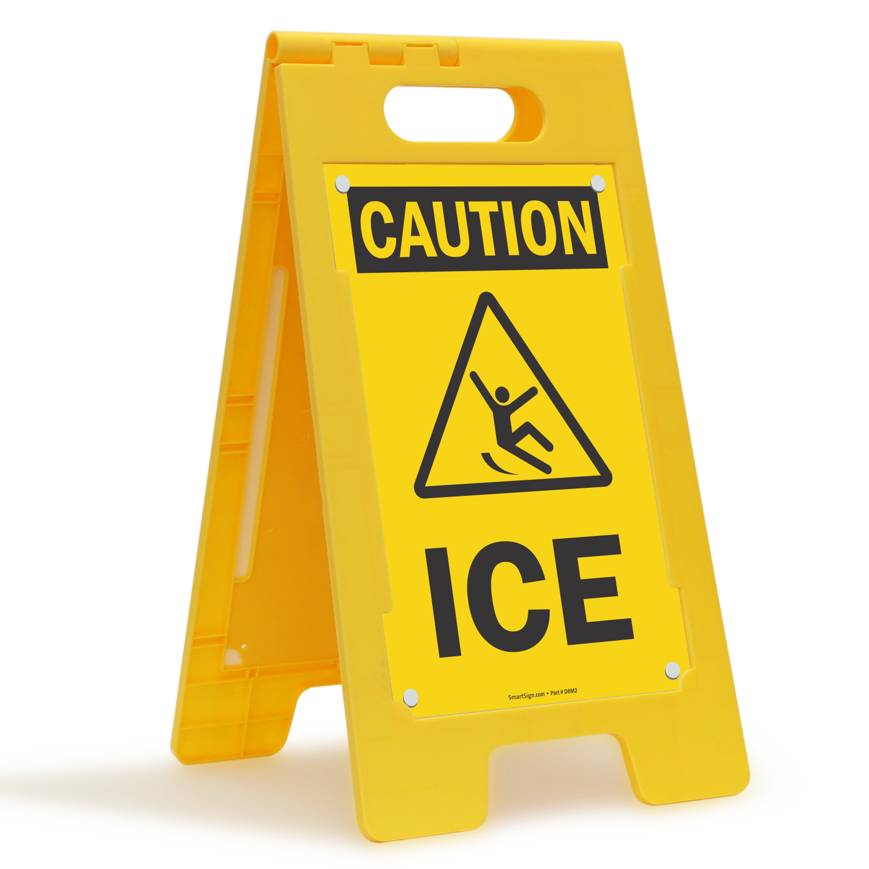 Ice Free-Standing Caution Floor Sign