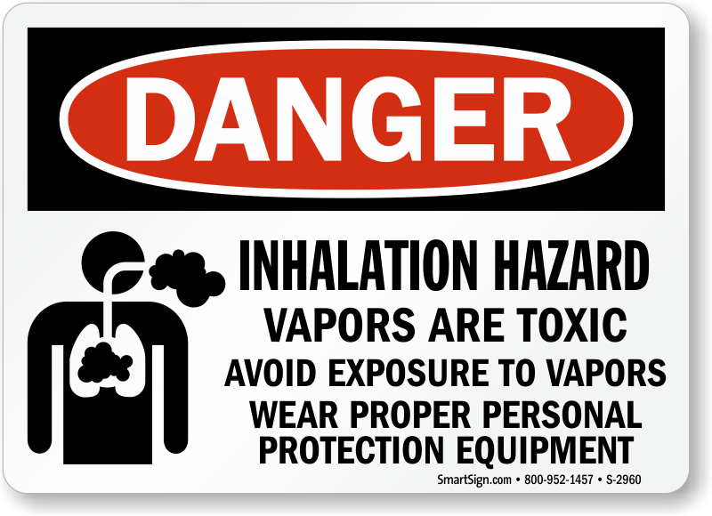 Inhalation Hazard Vapors Are Toxic Wear PPE Sign