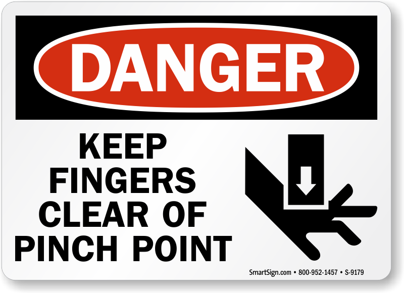 Keep Fingers Clear Of Pinch Point Danger Sign