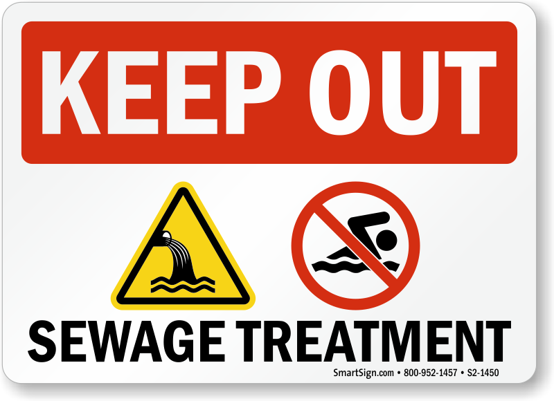Keep Out, Sewage Treatment, No Swimming Sign