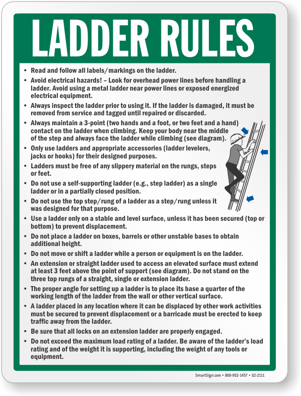 Ladder Safety Signs Ladder Rules Signs