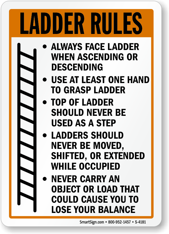 ladder rules safety sign s 4181 ladder safety signs ladder rules signs